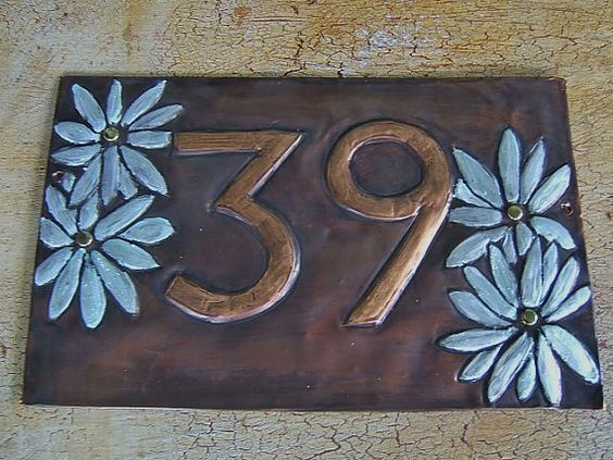 Double Daisy House Number Plaque by KopperKitty on Etsy, $88.00