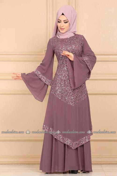 Modaselvim Abiye Volan Kollu Pul Payet Tesettur Abiye Ech7317 Gul Kurusu Elbise Elbise Modelleri Maksi Elbiseler