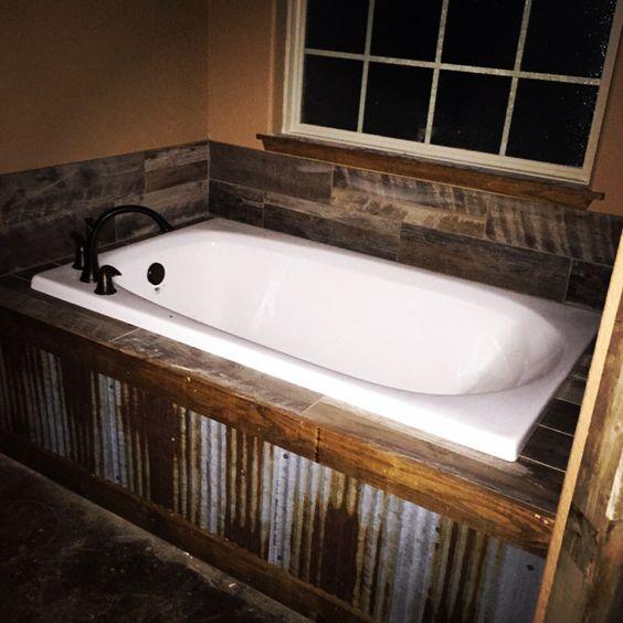 Tile back splashes metal tins and wood tiles on pinterest for Rustic tile bathroom ideas