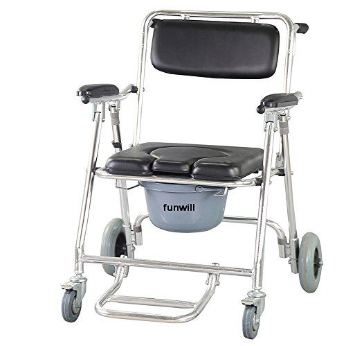 Funwill Mobile Commode Chair Toilet Bathing Shower Mobility