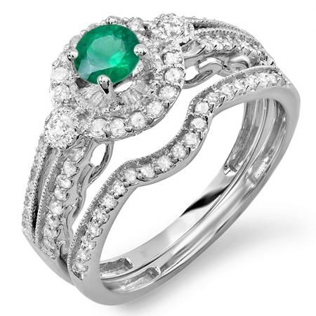 Share for $20 off your purchase of $100 or more! 1.00 Carat (ctw) 18k White Gold Round Green Emerald & White Diamond Ladies Halo Bridal Engagement Ring Set Matching Band 0.40 CT Center included 1 CT - Dazzling Rock #https://www.pinterest.com/dazzlingrock/