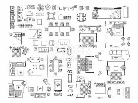 Top View Of Set Furniture Elements Outline Symbol For Bedroom Floor Plan Symbols Free Floor Plans Interior Illustration