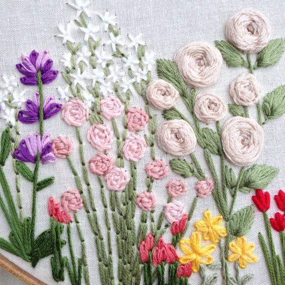 Wildflowers hand embroidery pattern beginner