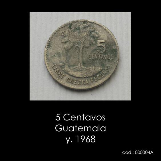 5 Centavos Guatemala y. 1968   coleccionismo, numismática, monedas collecting, numismatics, coins
