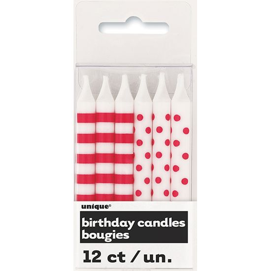 Red Decorative Dots and Stripes Party Candles – Pack of 12 | Partyrama.co.uk