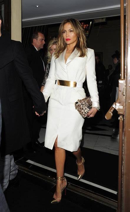 Jennifer Lopez in white coat dress with leopard clutch & golden belt & pumps