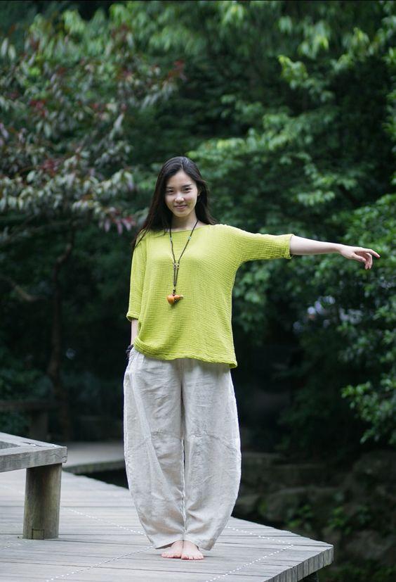 古石后-原创布衣超柔软棉麻绿色前后一片式七分袖随性宽松衬衫-淘宝网