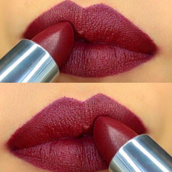 Maybelline creamy matte lipstick in Divine Wine love this color.