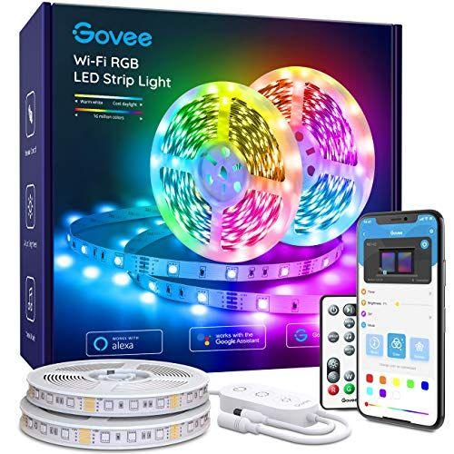 Govee Wifi Led Strip Lights Works With Alexa Google Home 32 8ft Smart Light Strip With App A Led Strip Lighting Rgb Led Strip Lights Led Color Changing Lights