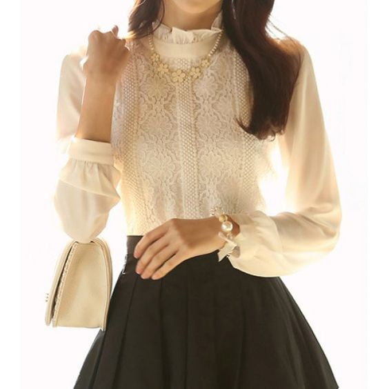 Elegant Stand Collar Long Sleeve Lace Splicing Blouse For Women ...