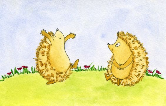 Happy hedgehog - Watercolour (for sale) by Sandra Herrgott