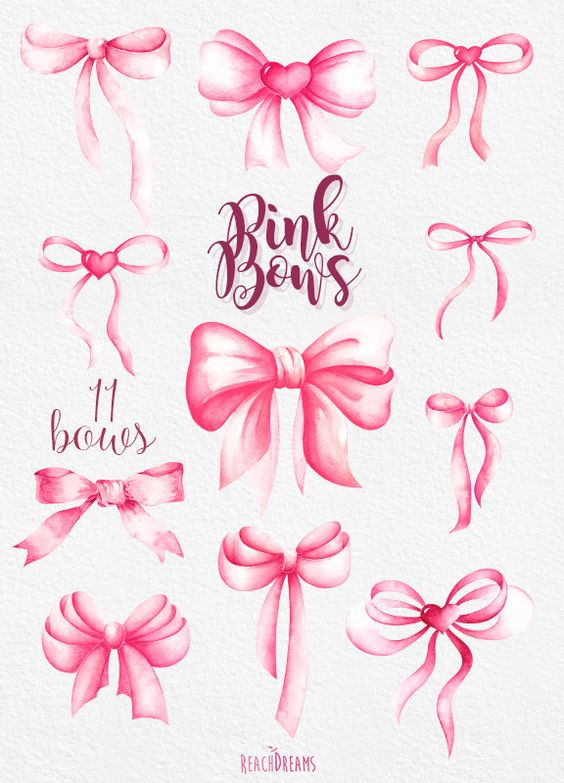 Pink Bows Watercolor Handpainted Clipart silk bow by ReachDreams