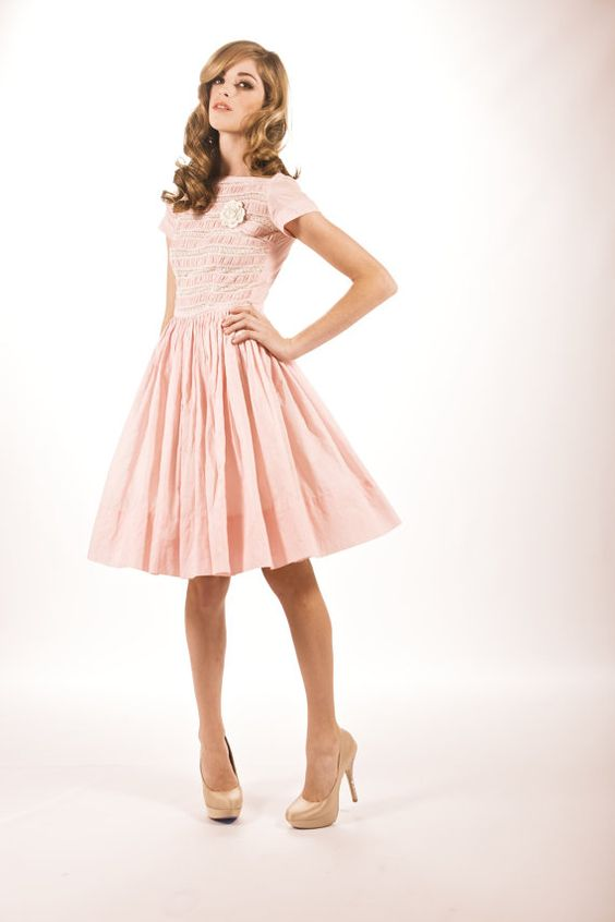 Vintage 1950&39s Cotton Candy Pink Baby Doll Day Dress with Lacy ...