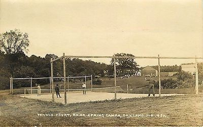Oakland Maine ME 1920 Real Photo Bear Spring Camps Tennis Court Vintage Postcard
