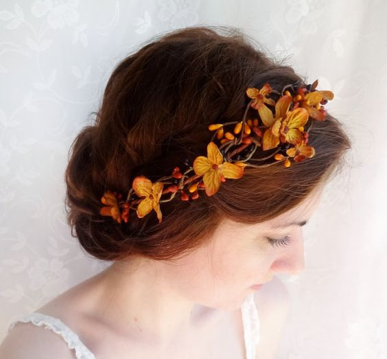 fall wedding hair accessories, copper orange bridal headpiece, autumn wedding flower crown - BRAMBLE - rustic wedding, floral head wreath on Etsy, $95.30 CAD: