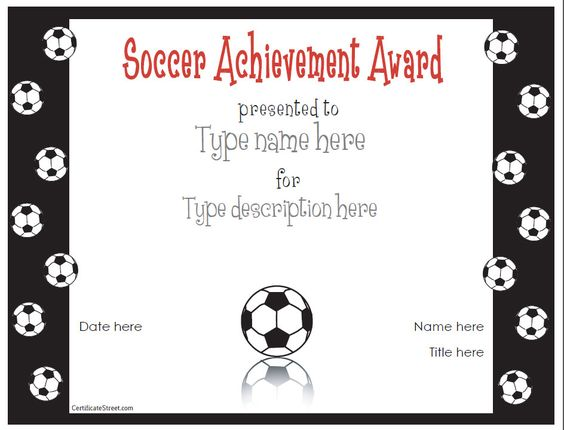 Free printable award certificate template award for Soccer certificate templates