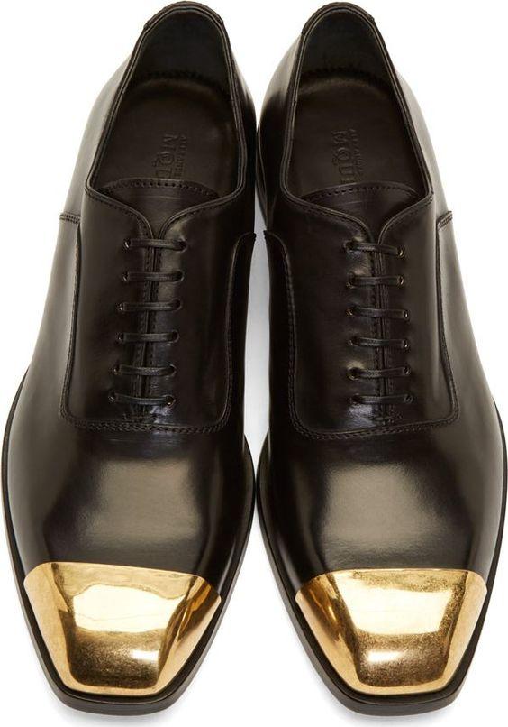 Alexander McQueen Black Leather Toe Cap Oxfords!