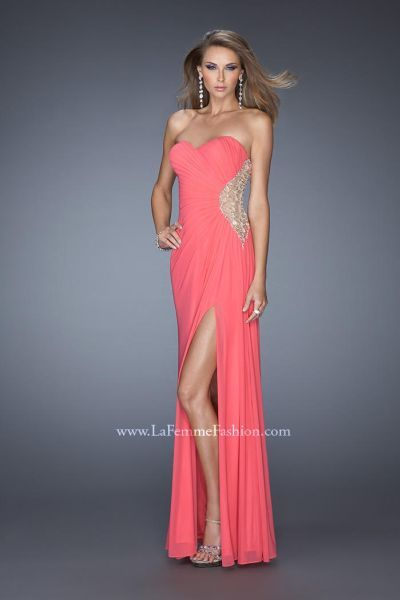 Alternate view of the La Femme 20130 Fitted Jersey Formal Dress image