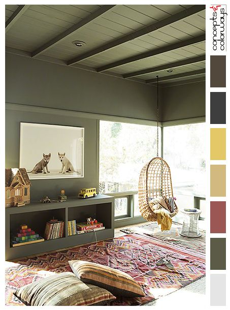 olive green kids room, interior color palettes, olive gray, purplish-pink, golden yellow, tan