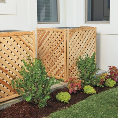 Use this attractive lattice-work, 3-sided wood screen to hide your unsightly air conditioner with its tasteful design. Available in 3 wood finishes.
