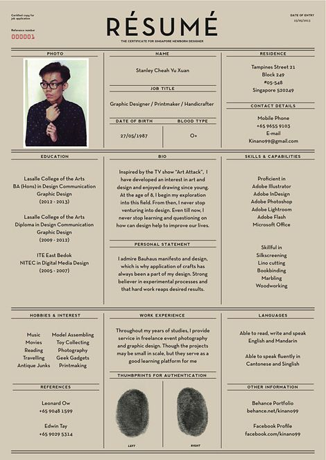 A beautifully laid out resume from Singapore designer Stanley Cheah Yu Xuan.