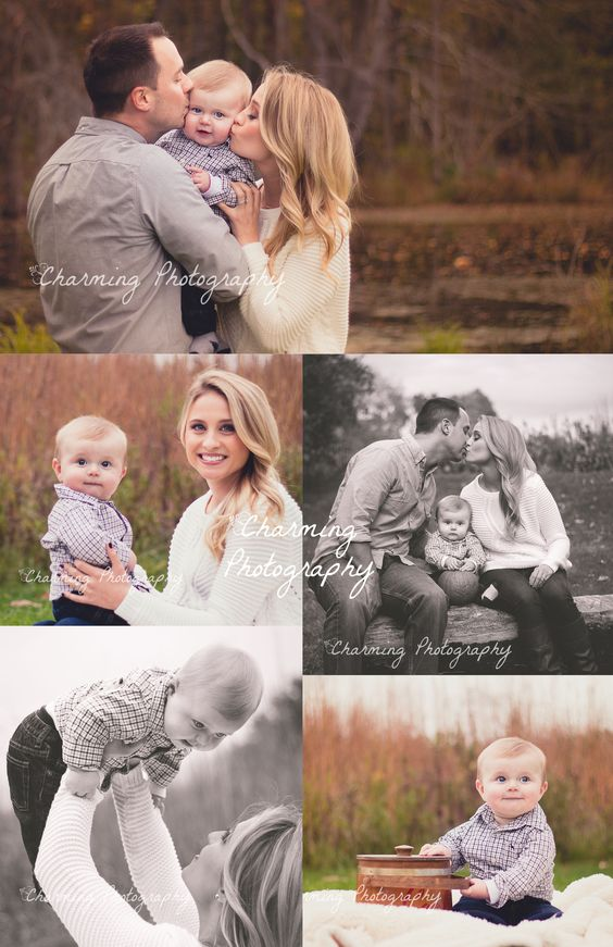 Family of three portraits with baby. Six month old baby boy. Posing ideas.