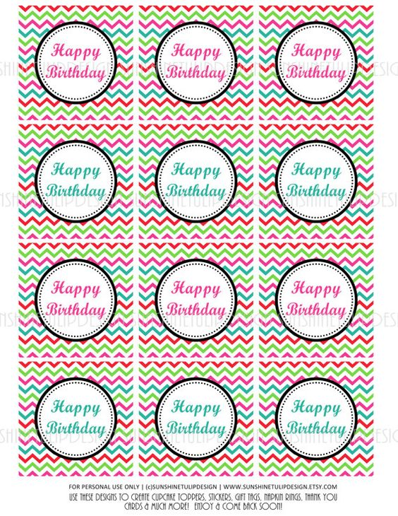 Happy Birthday Cupcake Toppers Printables ~ Pinterest the world s catalog of ideas