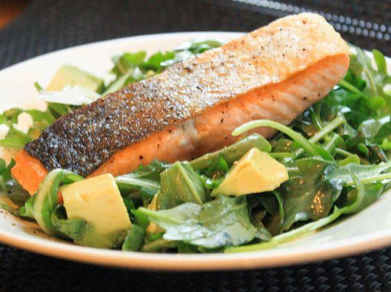 Pan-Roasted Salmon With Arugula and Avocado Salad   Recipe   Avocado ...