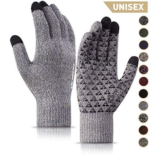 Thermal Soft Wool Lining Winter Glove Knit Touch Screen Anti-Slip Silicone Gel