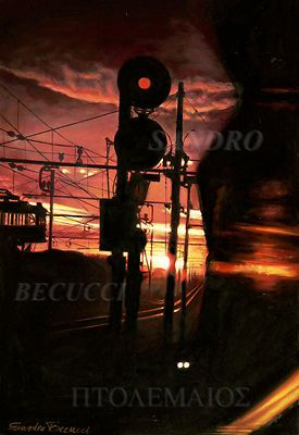 """TRAMONTO SUI BINARI oil on board 50x70cm 2002/10  La scena mostra un suggestivo tramonto visto dal finestrino di una carrozza ferroviaria che parte da una stazione sferragliando lentamente attraverso scambi, semafori e segnali luminosi, edifici ferroviari che si stagliano in controluce. Ho ripreso questa scena da una diapositiva che scattai giovanissimo verso la metà degli anni '70 durante la partenza per uno dei mitici viaggi """"zaino in spalla"""" che si usava fare all'epoca, un po…"""
