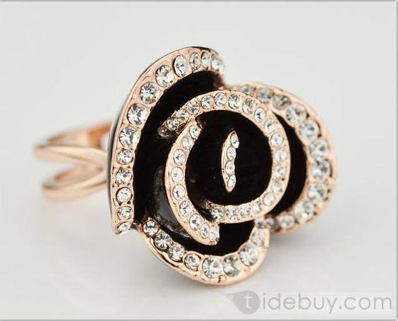 Glamorous Black Rose Lady's Ring : Tidebuy.com