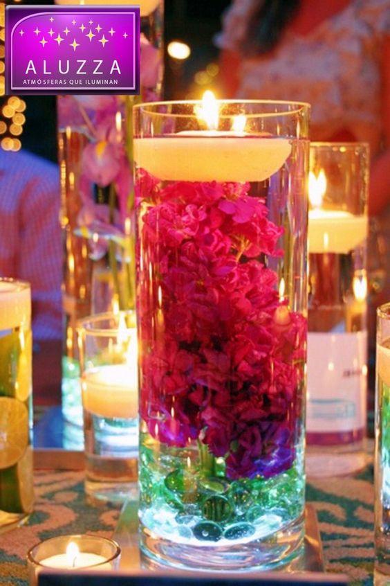 Centro de mesa para boda aluzza xv pinterest - Mesas de cristal para bodas ...