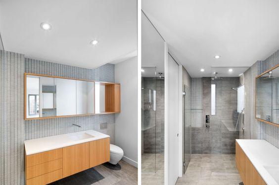 Stylisches Badezimmer in nüchternem Stil