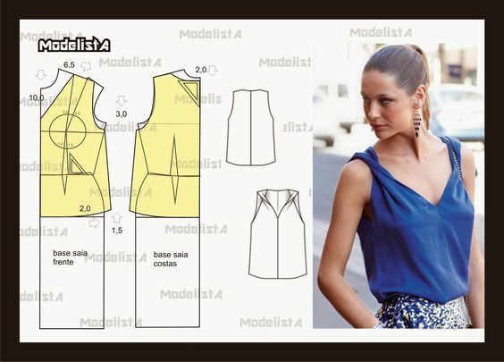 ModelistA: UM DETALHE NA CONFECÇÃO: Moldes Trazos Patterns, Moldería Patrones, Patterns, Patterns Sewing Info, Sewing Nice, Sewing Patterns Tops, Sewing Patterns, Patterns Patterns