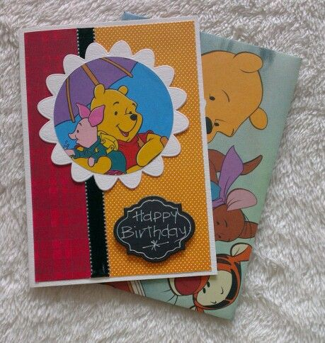 Pooh catd with marching envelope made from thrift shop story book.