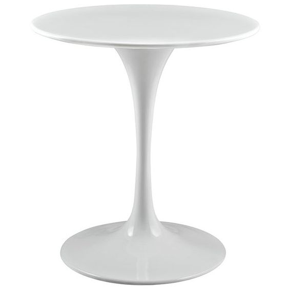 Showcasing a streamlined silhouette and a glossy white finish, this sleek dining table is brimming with modern style. This piece is made from aluminum and manufactured wood that is coated to resist rusting and chipping. Its compact size makes it an ideal anchor for an eat-in kitchen or smaller breakfast nook, while its slender pedestal base mirrors its round top and gives this design a balanced look. Some assembly is required.