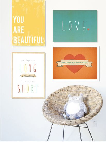 Great resource for Inspirational art prints that are appropriate for baby and kids' rooms too