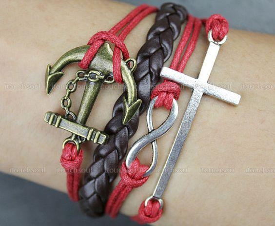 Kama - fashion coffee leather bracelet, bronze anchor bracelet, red leather rope bracelet, silver cross bracelet, infinite hope bracele