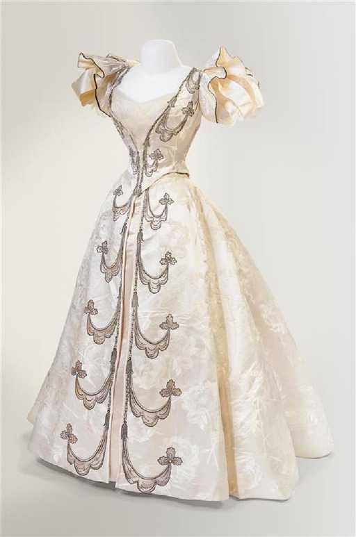 The House of Worth Two Piece Silk Brocade Dress, 1896