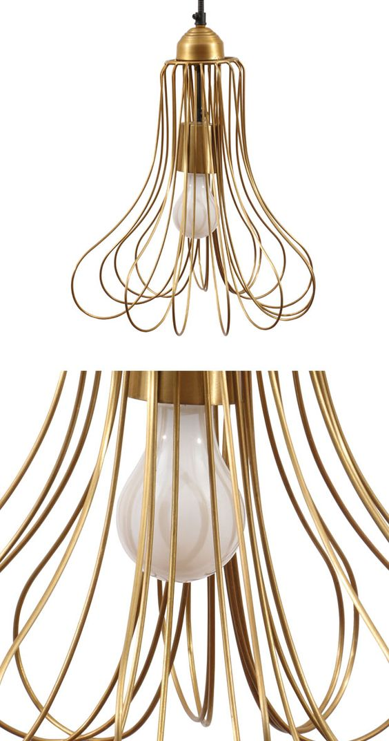 Interior lighting on your wishlist? Here's your golden opportunity to shine. Our Cressida Pendant Light blends the caged look of metal wire with an opulent gold finish. This hanging fixture adds Parisi...  Find the Cressida Pendant Light, as seen in the An Artist's Vintage Desert Home Collection at http://dotandbo.com/collections/an-artists-vintage-desert-home?utm_source=pinterest&utm_medium=organic&db_sku=121523
