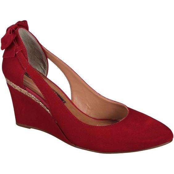 #Scarpin Cravo Vermelho Anabela Vermelho #Shoes