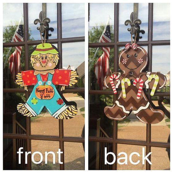 Fall door hanger door wreath Scarecrow by KraftyKutzByMindy
