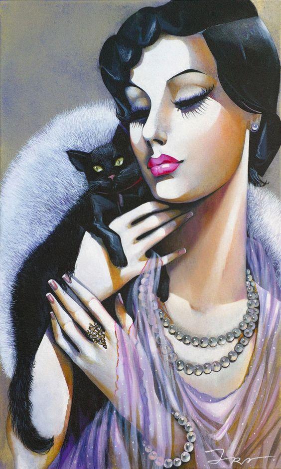Lady with Black Cat by Ira Tsantekidou | Artmajeur