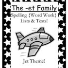FREE The -et Family Spelling {Word Work} Lists & Tests Adorable Jet Theme!  This Spelling Unit has 9 pages. Some school districts call it Spelling, some call it Word Work! This packet has both versions! Your students will love it!    The PowerPoint and Center Game are available on TPT if you like this Freebie.  OR You can purchase the entire bundle at  The -et Family Packet ~ PowerPoint, Center Game & Spelling Bundle! $0