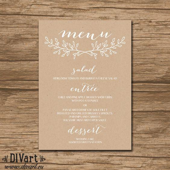 Wedding Menu, Rehearsal Dinner Menu, Reception Menu - PRINTABLE file - garden, rustic wedding, wreath, kraft paper texture - 488 by DIVart on Etsy