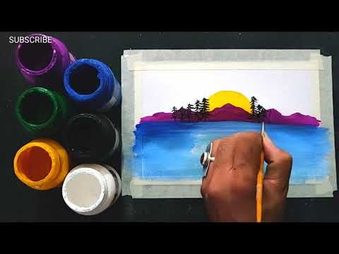Easy Scenery Painting Ideas For Beginners Step By Step Painting Tutorial Youtube Painting Tutorial Beginner Painting Step By Step Painting