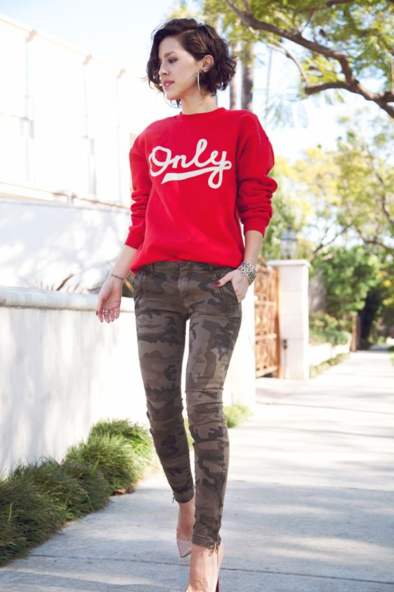 Army print pants and a bright sweater + Heels + short hair+ wrist bangles...... love love love!!: