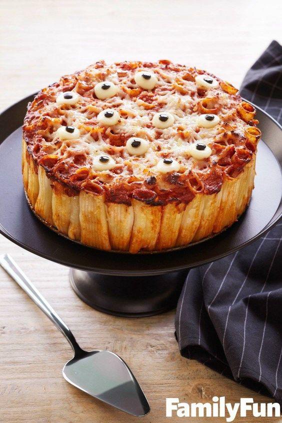 Creepy Peepers Pasta Pie