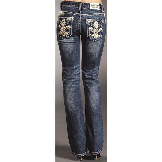Rock & Roll Cowgirl Fleur-de-Lis Jeans - Bootcut, Mid Rise (For Women) in Medium Wash