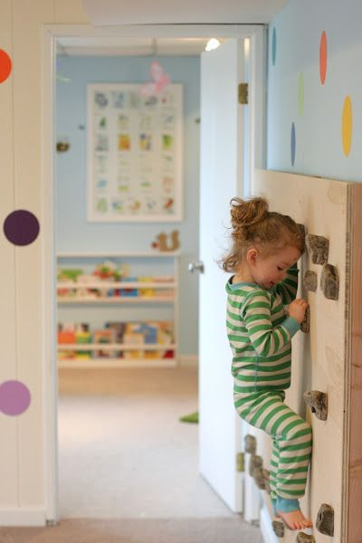 How to make a built in rockwall, plus other cool playroom ideas.: